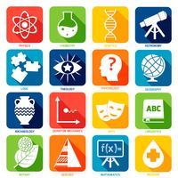 Ícones de áreas de ciência vetor