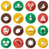 Conjunto de ícones plana do México