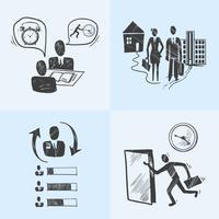 Conceito de design de desenho de escritório vetor