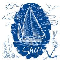 Emblema náutico com navio vetor