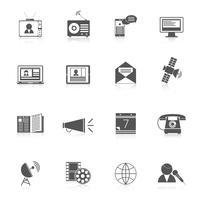 Conjunto de ícones de mídia preto
