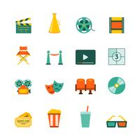 Conjunto de ícones plana de cinema