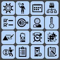 Ícones de gerenciamento de tempo conjunto preto