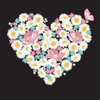 Formato de coração. Rosas, flores de camomila e Miosótis, borboleta em fundo preto vetor