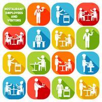 Funcionários do restaurante branco vetor