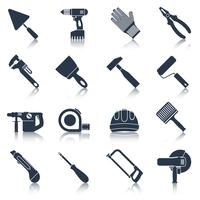 Reparar ferramentas de construção preto vetor