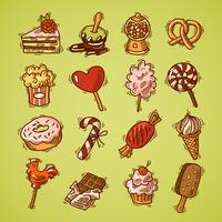 Cor de conjunto de ícones de esboço de doces vetor