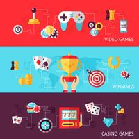 Conjunto de banner de design de jogos vetor