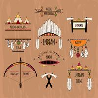 Conjunto de etiquetas tribais coloridas
