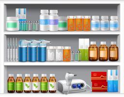 Farmácia prateleiras realistas vetor