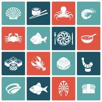 Conjunto de ícones de frutos do mar plana