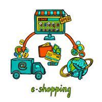 Conceito de design de comércio eletrônico vetor