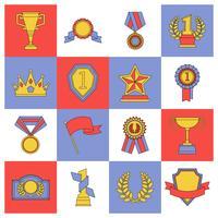 Conjunto de ícones de prêmio linha plana vetor