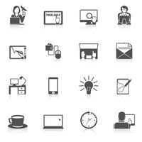 conjunto de ícones freelance preto