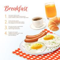 Fundo de comida de café da manhã vetor