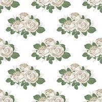Padrão sem emenda floral retrô. Rosas em fundo branco. Ilustração vetorial
