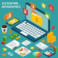 Conjunto de infográficos de contabilidade vetor