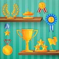 Fundo de prateleiras de prêmio