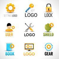 Conjunto de logotipos de configurações vetor