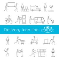 Conjunto de contorno de ícones de entrega