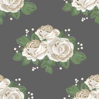 Padrão sem emenda floral retrô. Rosas brancas em fundo escuro. Ilustração vetorial