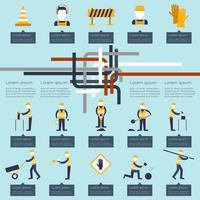Infográfico de trabalhador de estrada vetor