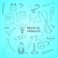 Símbolos médicos emblemas doodle conjunto vetor