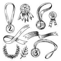 Conjunto de ícones decorativos de prêmio vetor