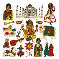 Conjunto de desenho de India