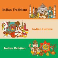 Conjunto de bandeiras de esboço de India vetor