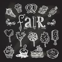 Conjunto de ícones de esboço de doces lousa vetor
