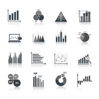 Conjunto de ícones de gráfico de negócios vetor