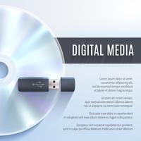 Usb Flash Drive Com Cd vetor