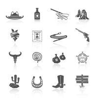 Cowboy ícones preto vetor