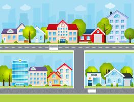 Ilustração de cidade plana vetor