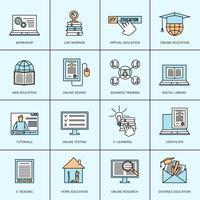 Conjunto de ícones de educação on-line vetor