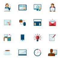 conjunto de plano de ícone freelance