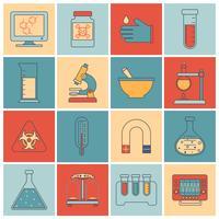 Linha plana de ícones de equipamentos de laboratório