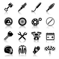 Peças da motocicleta conjunto preto vetor