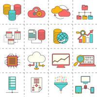 Ícones de linha plana de análise de dados