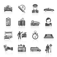 Conjunto de ícones pretos de táxi vetor