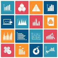 Conjunto de ícones de gráfico de negócios branco vetor