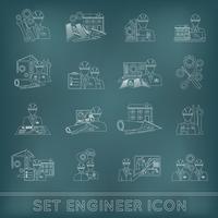Contorno de ícone de engenheiro vetor