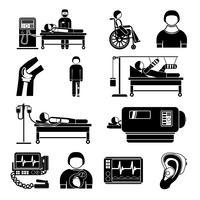 Ícones de equipamentos médicos de suporte de vida