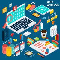 Análise de dados isométrica vetor