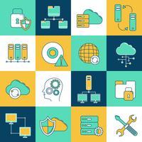 Conjunto de ícones de rede e servidor