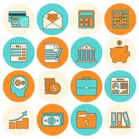 Conjunto de ícones de contabilidade linha plana