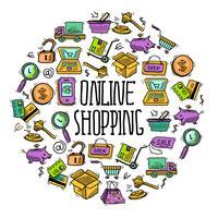 Círculo de compras online vetor