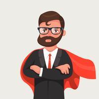 Empresário em óculos um manto vermelho.