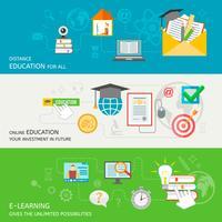 Banner de educação on-line vetor
